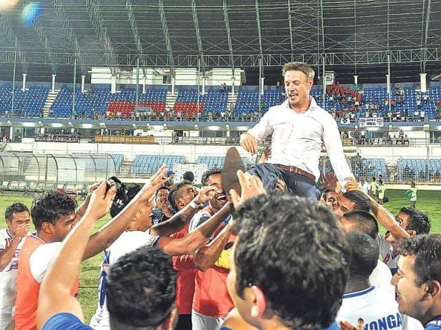 Bengaluru-FC-players-celebrate-with-coach-Ashley-Westwood-after-clinching-the-I-League-title-following-their-4-2-win-over-Dempo-in-Margao-on-Monday-HT-Photo