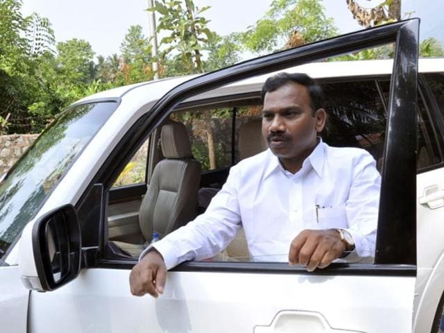 DMK leader and candidate for Lok Sabha election from Niligiris constituency A Raja during campaign in Tamil Nadu (HT Photo)