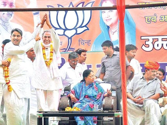 BJP-s-pick-Harish-Meena-campaigns-in-Dausa-HT-Photo