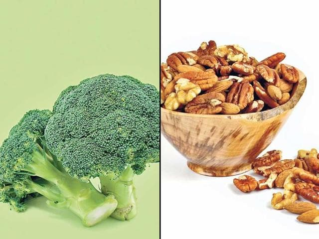 Broccoli: it is a rich source of Vitamin A, K, C and E. Vitamin A helps in regeneration of skin tissues, while Vitamin K, C and E have antioxidant qualities that keep the skin healthy and prevent acne. | Nuts: acne could also be linked to deficiencies in minerals such as zinc and selenium. Nuts like almonds and walnuts are good sources of minerals that promote the general health of the skin. (HT PHOTO)