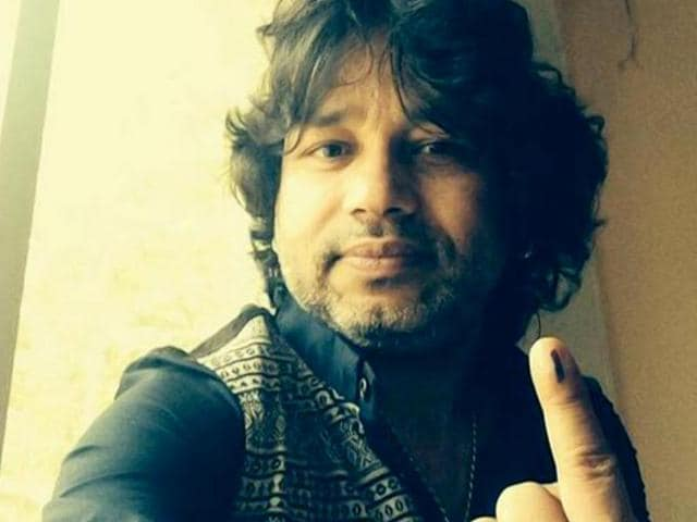 Singer Kailash Kher after casting his vote.