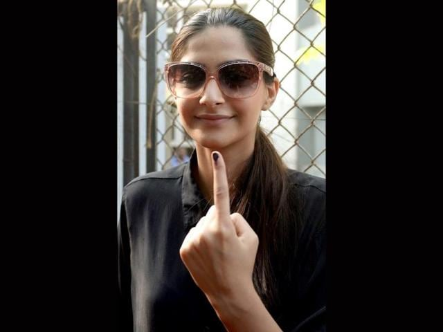 Bollywood actor Sonam Kapoor flaunts her inked finger.