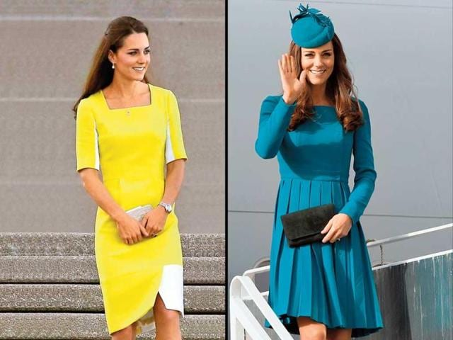 Kate looked pop-ready in this bright pineapple yellow dress by designer Roksanda Ilincic. | The Prince and Duchess went for shades of powder grey as they arrived in Australia.