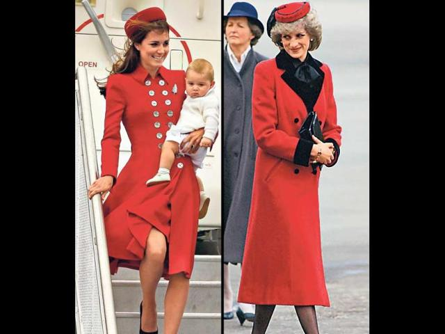 The red Catherine Walker coat worn by the Duchess, styled with black kitten heels and a pillbox hat, is reminiscent of her late mother-in-law, Princess Diana's look from 1984.