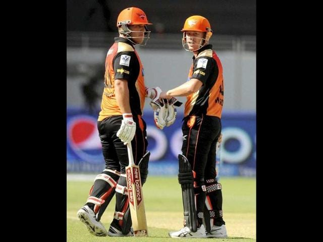 Sunrisers Hyderabad players David Warner and Aaron Finch punch gloves during Pepsi Indian Premier League Season 7 between the Sunrisers Hyderabad and the Delhi Daredevils at the Dubai International Stadium (PTI Photo)
