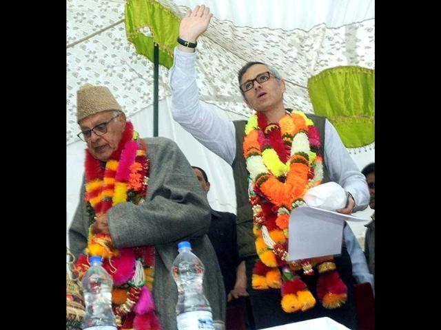 National-Conference-NC-president-and-candidate-Farooq-Abdullah-and-J-amp-K-CM-Omar-Abdullah-during-an-election-campaign-rally-at-Waterhail-Khanshaib-in-Budgam-PTI-photo