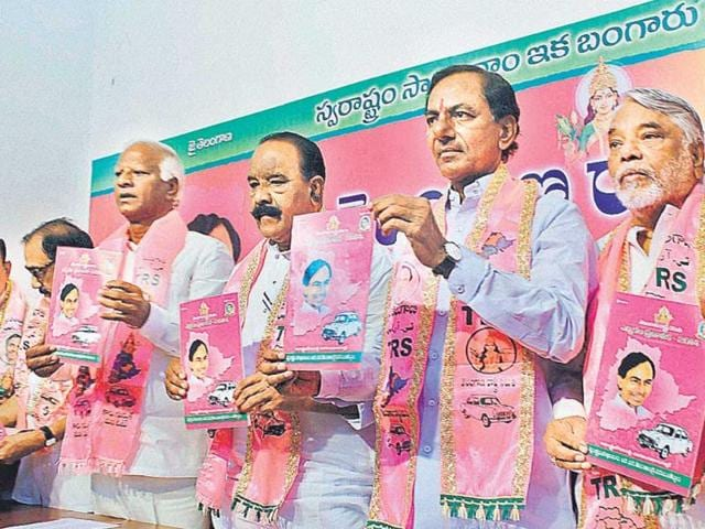 TRS-chief-K-Chandrasekhara-Rao-second-from-right-is-banking-on-the-Telangana-sentiment-in-the-polls-ahead-of-the-state-s-creation-HT-file-photo