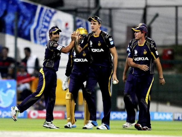 Morne Morkel of Kolkata Knight Riders celebrates the wicket of David Miller of Kings X1 Punjab during their IPL7 match in Abu Dhabi. (PTI Photo)