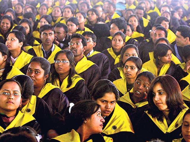 Students-await-their-turn-to-receive-degrees-during-the-27th-convocation-of-Ranchi-University-HT-File