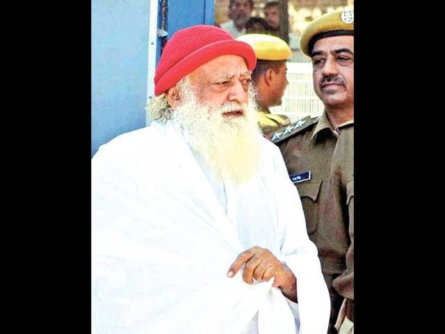 In this file photo, self-proclaimed godman Asaram gestures to media persons as he returns after being produced at a Jodhpur court. (Ramji Vyas/ HT Photo)