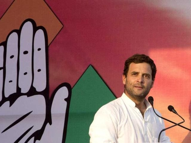 Congress vice-president Rahul Gandhi addresses a rally in Himachal Pradesh. (PTI photo)