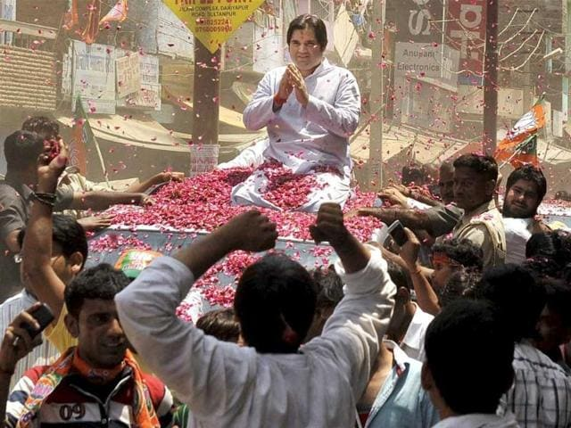 BJP candidate Varun Gandhi on his way to file his nomination papers in Sultanpur. (PTI Photo)