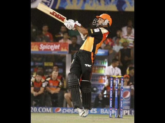 Shikhar Dhawan of Sunrisers Hyderabad plays a shot during their IPL 7 match against Rajasthan Royals in Ahmedabad. (PTI Photo)
