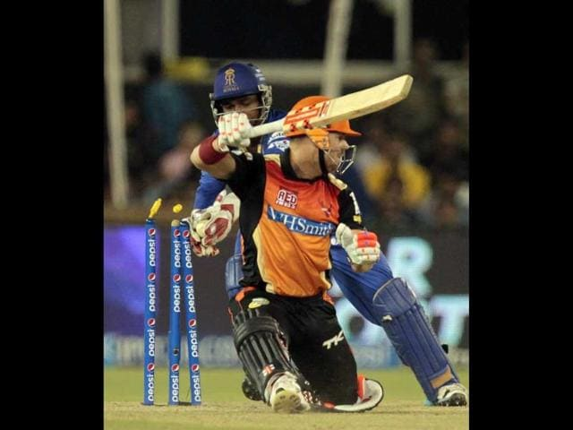 Sunrisers Hyderabad player David Warner is stumped by Rajasthan Royals