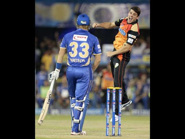 Sunrisers Hyderabad bowler Moises Henriques celebrates the wicket of Rajasthan Royals