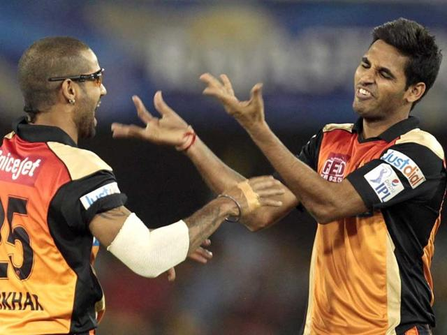 Sunrisers Hyderabad bowler Bhuvneshver Kumar celebrates the wicket of Rajasthan Royals