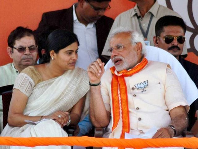 BJP-s-PM-candidate-Narendra-Modi-and-Apna-Dal-Chief-Anupriya-Patel-at-an-election-campaign-rally-in-Varanasi-PTI-Photo