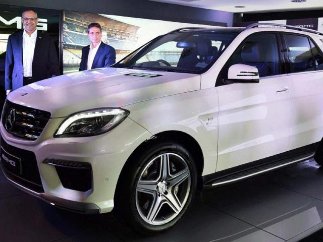 Managing-Director-amp-CEO-Mercedes-Benz-India-Eberhard-Kern-and-Director-Branding-amp-Marketing-Mercedes-AMG-GmbH-Mario-Spitzner-at-the-launch-of-the-Mercedes-Benz--ML-63-car-in-New-Delhi-Photo-PTI