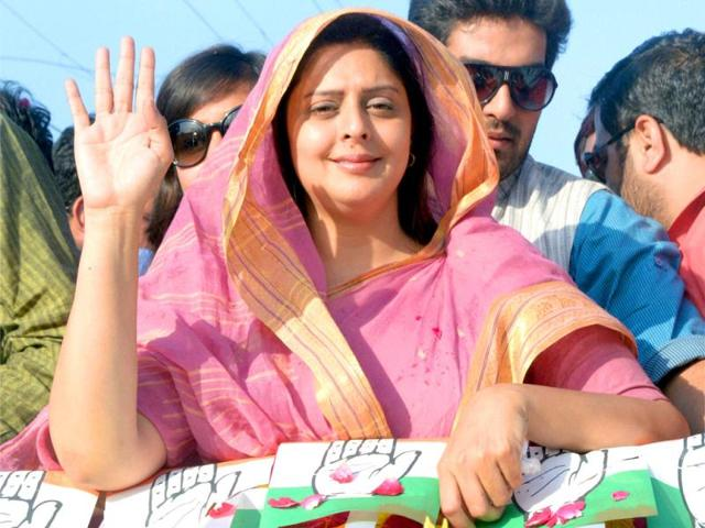 Congress leader and actor Nagma campaigns for party candidate Sanjay Kapoor in Pilibhit. (PTI Photo)