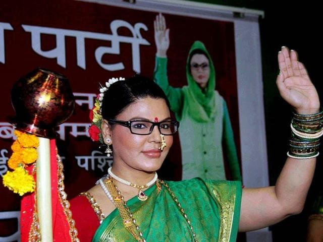 LOST: actor Rakhi Sawant poses during the launch of her party