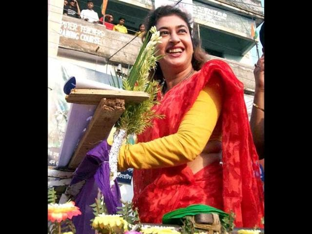 WON: Tollywood actor and TMC candidate Satabdi Roy during her election road show at Rampurhat in Birbhum district of West Bengal on April 28, 2014. (PTI)