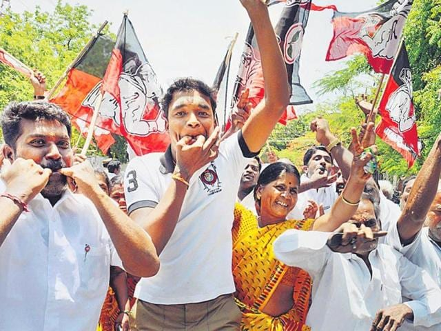 AIADMK-party-workers-in-Coimbatore-celebrate-Jayalalithaa-s-victory-in-TN-PTI-Photo