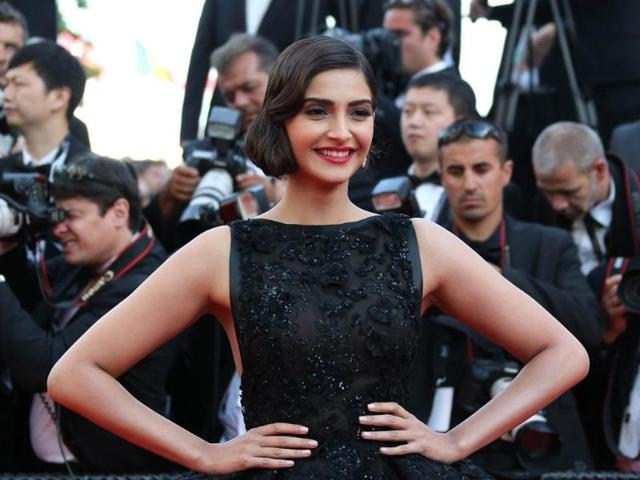 Bollywood fashionista Sonam Kapoor walked the coveted red carpet at the ongoing Cannes Film Festival in a voluminous black Elie Saab couture gown.