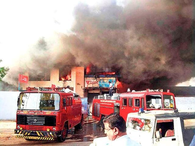 Firefighters-douse-the-flames-at-an-industrial-unit-that-caught-fire-in-Malviya-Nagar-area-of-Jaipur-on-Monday-HT-Photo