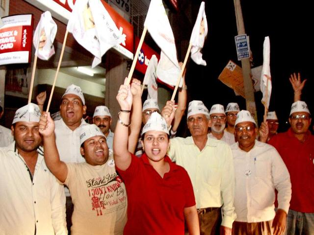 Aam Aadmi Party workers raise slogans against BJP in support of their leader Arvind Kejriwal, after his arrest in Gurgaon. (PTI photo)