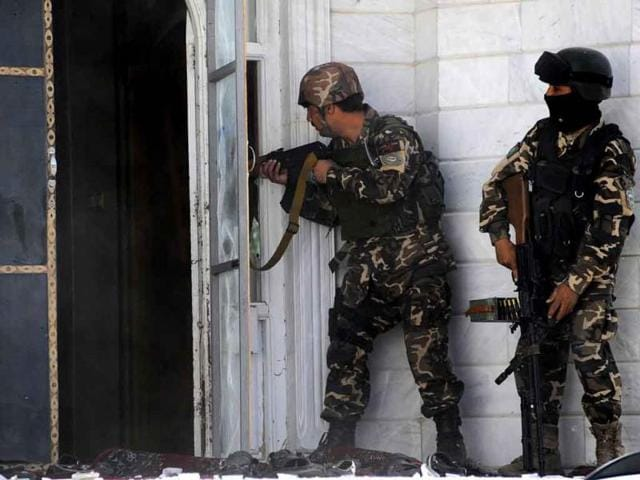 Afghan-secuirty-personnel-outside-Indian-consulate-in-Herat