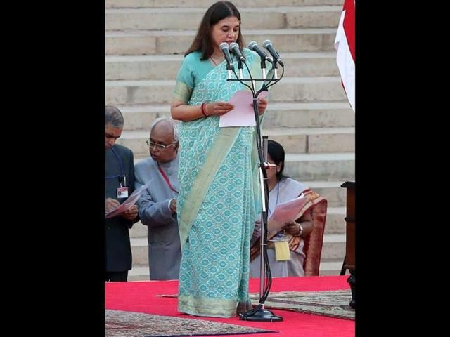 Bharatiya Janta Party leader Maneka Gandhi takes oath as Cabinet minister during the swearing-in ceremony of Narendra Modi as new Prime Minister of India at the presidential palace in New Delhi. (EPA)