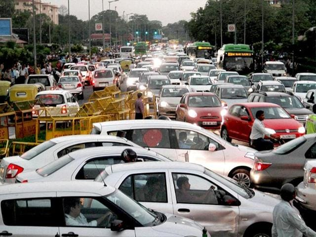 A view of traffic jam near Central Secretariat Metro Station after a heavy storm in New Delhi. (PTI photo)