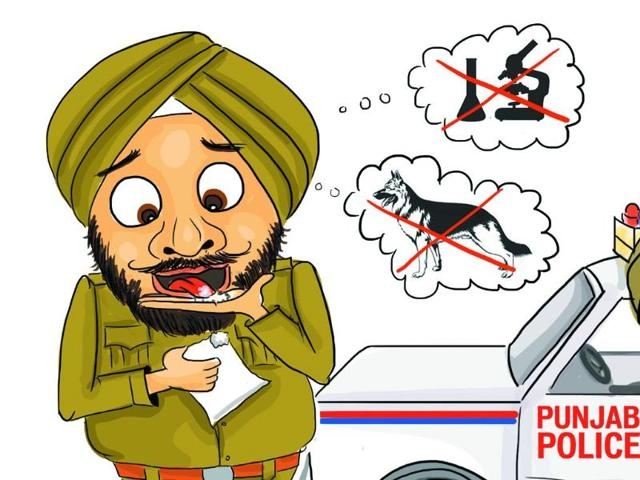 The-police-personnel-of-Ludhiana-police-apparently-need-no-sniffer-dogs-or-chemical-examinations-for-identification-of-narcotics-for-they-have-started-identifying-drugs-by-tasting-them-Daljeet-Kaur-Sandhu-HT