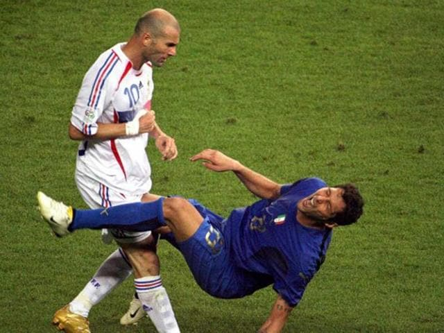A-photo-taken-9-July-2006-of-French-midfielder-Zinedine-Zidane-gesturing-after-head-butting-Italian-defender-Marco-Materazzi-during-the-World-Cup-2006-final-football-match-between-Italy-and-France-at-Berlin-s-Olympic-Stadium-AFP