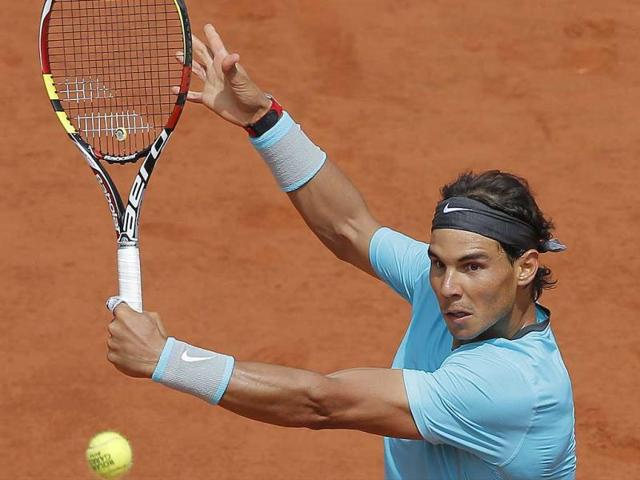 Spain-s-Rafael-Nadal-returns-the-ball-to-Serbia-s-Dusan-Lajovic-during-their-French-tennis-Open-round-of-sixteen-match-at-the-Roland-Garros-stadium-in-Paris--AFP-Photo