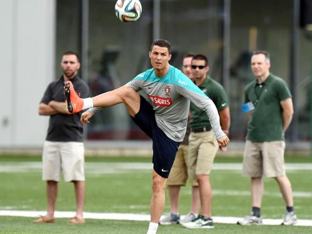 Portugal-s-Cristiano-Ronaldo-kicks-a-ball-toward-the-goal-during-training-in-Florham-Park-New-Jersey-AFP-photo