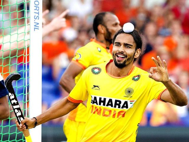 India-s-Akashdeep-Singh-R-celebrates-a-goal-during-the-group-stage-match-between-India-and-Malaysia-in-the-men-s-tournament-of-the-Field-Hockey-World-Cup-in-The-Hague-Netherlands-EPA-Photo