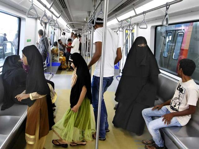 During a preview of the Mumbai Metro station and train, commuters take a look at the interiors of the train. (Kalpak Pathak/HT photo)