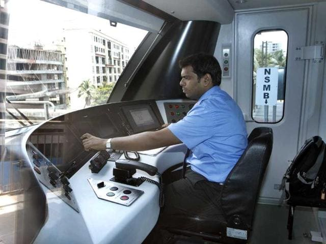 An operator drives a Mumbai Metro train in Mumbai. (Kalpak Pathak/HT photo)