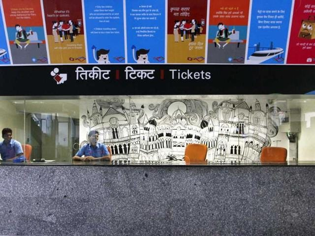 Preview of a ticket counter of the Mumbai Metro. (Kalpak Pathak/HT photo)