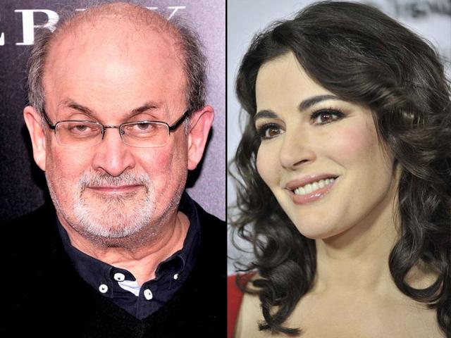 English-television-personality-and-food-writer-Nigella-Lawson-and-author-Salman-Rushdie-Getty
