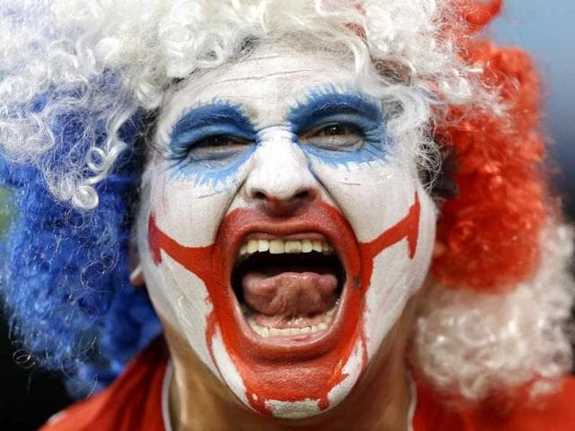 Another jubilant Chilean fan at the World Cup. (AP photo)