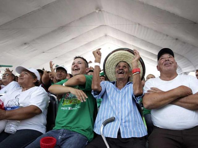 Mexican soccer fans react while watching a match between Mexico and Cameroon. (Reuters photo)