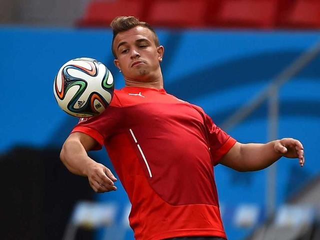 Switzerland-s-midfielder-Xherdan-Shaqiri-controls-the-ball-during-a-team-training-session-at-The-Mane-Garrincha-National-Stadium-in-Brasilia-ahead-of-their-World-Cup-match-against-Ecuador-AFP-Photo