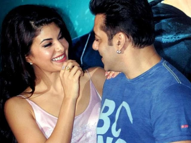 You-r-funny-Jacqueline-Fernandez-seems-to-telling-Salman-Khan-during-a-promotional-event-for-Kick-AFP-Photo