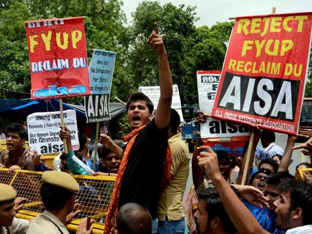 Delhi-University-Student-and-ABVP-members-hold-a-celebration-march-at-Delhi-Arts-Faculty-HT-Photo