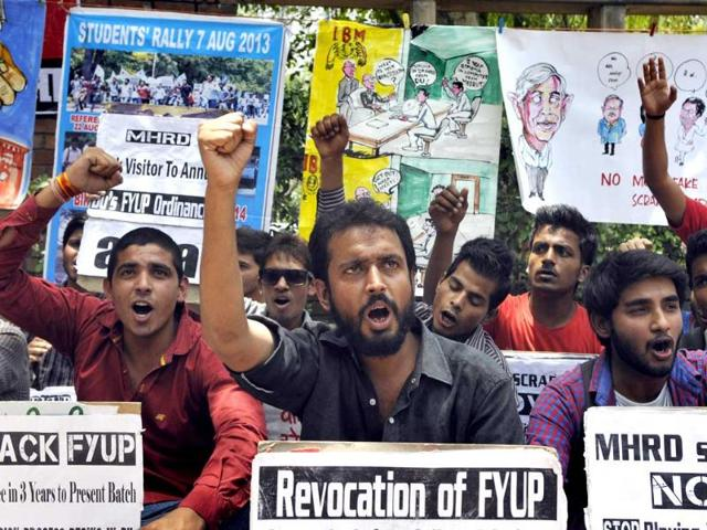 Members-of-AISA-staging-a-demonstration-demanding-roll-back-of-FYUP-in-front-of-Shastri-Bhawan-in-New-Delhi-on-Monday-PTI-Photo
