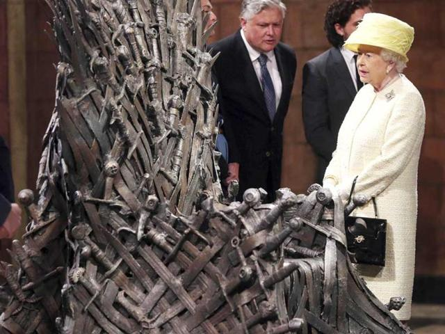 The Queen met the cast members Kit Harington, Conleth Hill and Lena Headey, on the set of the television series. (Photo: REUTERS)