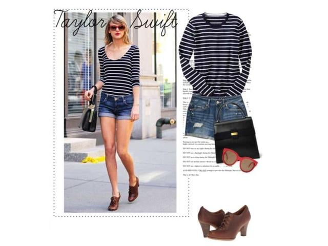 Shades and stripes: Gap top, Aeropostale shorts, Timberland shoes, Salvatore Ferragamo bag, Céline sunglasses