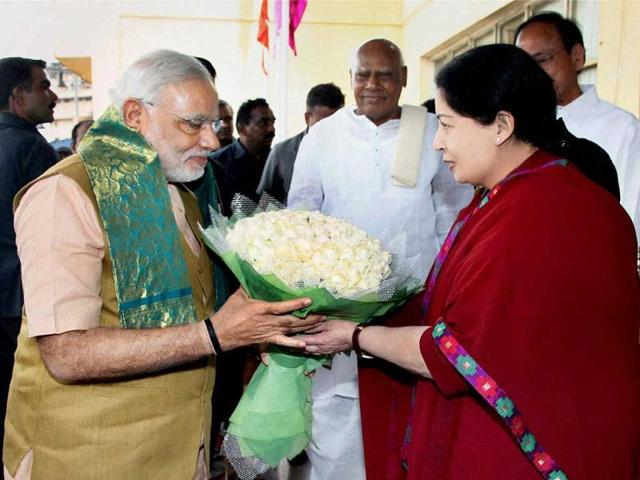 Prime-Minister-Narendra-Modi-being-greeted-by-Tamil-Nadu-chief-minister-J-Jayalalithaa-at-Chennai-Airport-PTI-photo